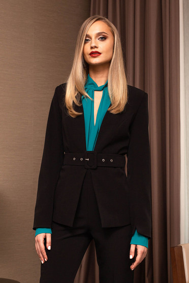 Black jacket elegant blazer accessorized with a waistband short cut long sleeved arched cut