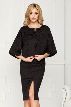 StarShinerS black jacket occasional short cut flared jacquard with butterfly sleeves with 3/4 sleeves