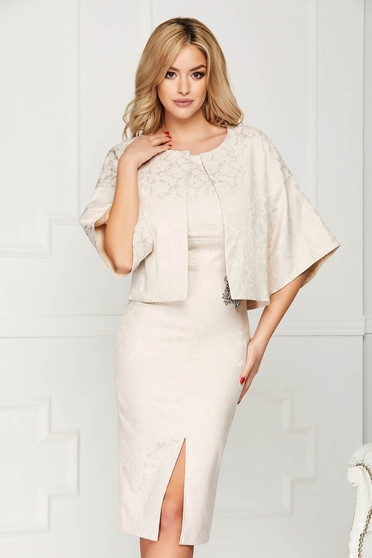 StarShinerS cream jacket occasional short cut flared jacquard with butterfly sleeves with 3/4 sleeves