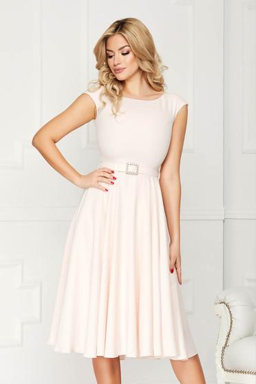 StarShinerS cream dress elegant midi a-line cloth accessorized with a waistband
