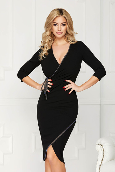 StarShinerS black dress elegant midi pencil with deep cleavage