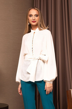 White women`s blouse elegant flared bell sleeves with puffed sleeves from veil fabric