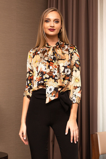 Brown women`s blouse office flared elegant from veil fabric