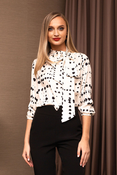 White women`s blouse office flared elegant from veil fabric
