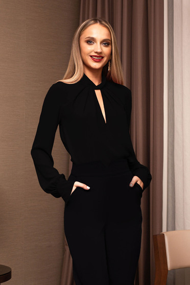 Black women`s blouse office cut-out bust design short cut from veil fabric flared