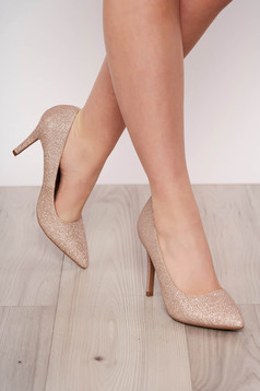 Gold shoes from ecological leather with glitter details elegant slightly pointed toe tip with high heels