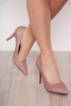 Lightpink shoes from ecological leather with glitter details elegant slightly pointed toe tip with high heels