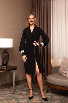 Black skirt elegant midi pencil cloth slit with inside lining