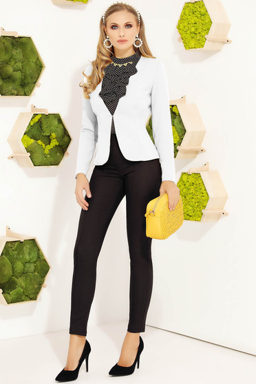 White office tented jacket slightly elastic fabric with inside lining with padded shoulders