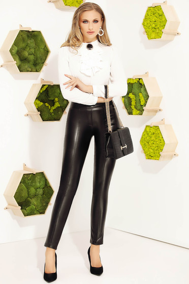 Black trousers elegant conical from ecological leather with tented cut high waisted