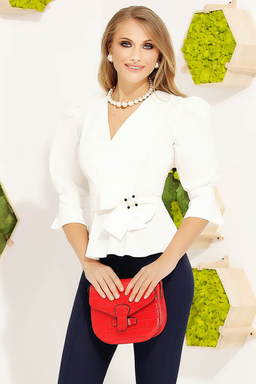 White women`s shirt office cotton accessorized with breastpin with puffed sleeves tented
