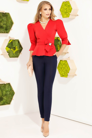 Red women`s shirt office cotton accessorized with breastpin with puffed sleeves tented