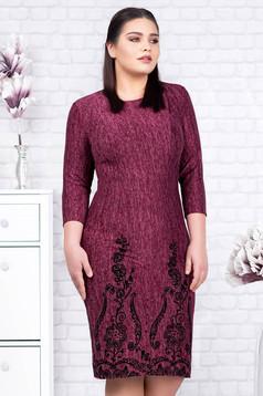Burgundy dress elegant midi pencil knitted velvet insertions with floral details