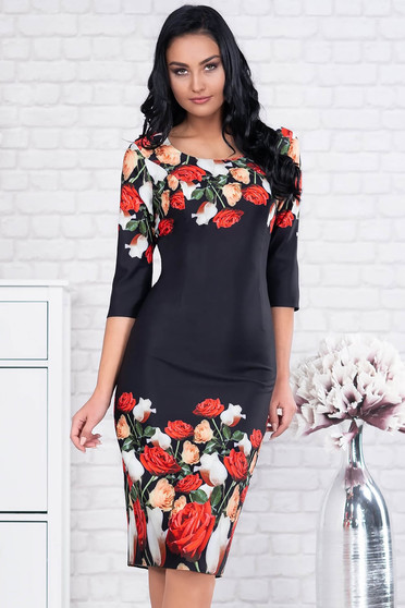Black dress elegant midi pencil cloth with 3/4 sleeves with floral print