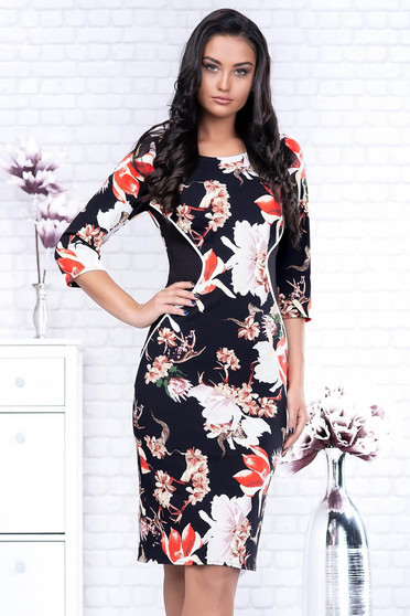 Black dress elegant pencil cloth with 3/4 sleeves with floral prints