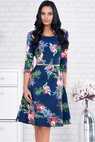 Darkblue dress elegant midi cloth accessorized with belt with floral print