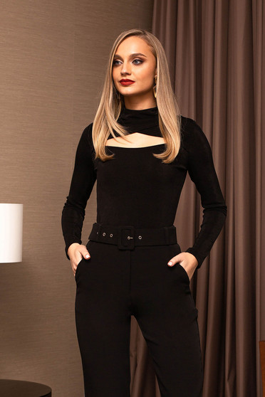 Black women`s blouse tented turtleneck elegant long sleeved