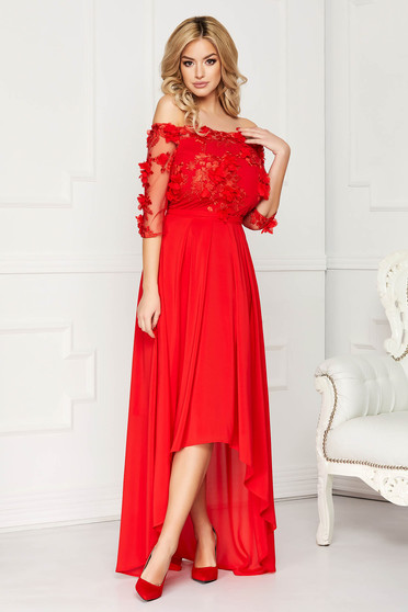 StarShinerS red occasional asymmetrical cloche dress accessorized with tied waistband laced