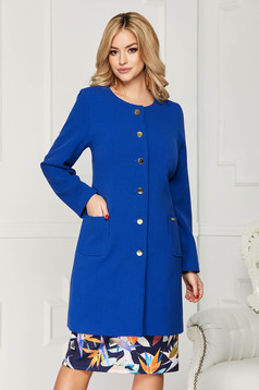 Blue trenchcoat elegant cloth straight with pockets with buttons