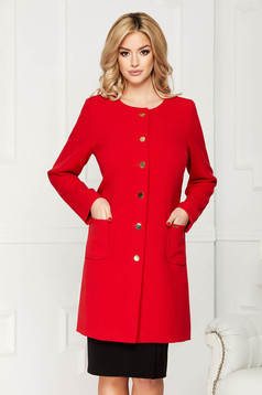 Red trenchcoat elegant cloth straight with pockets with buttons