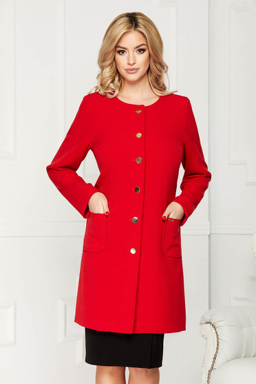 Red trenchcoat elegant cloth straight with pockets