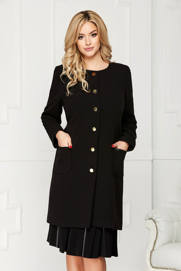 Black trenchcoat elegant cloth straight with pockets with buttons