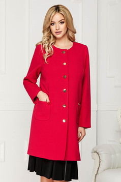 Fuchsia trenchcoat elegant cloth straight with pockets with buttons