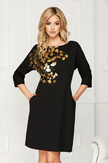 Black dress elegant midi straight cloth with pockets with floral prints