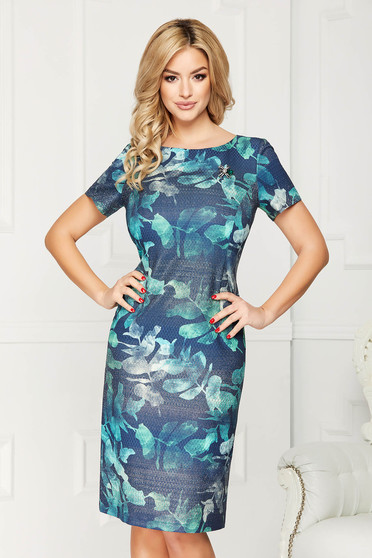 Darkblue dress elegant midi straight thin fabric accessorized with breastpin