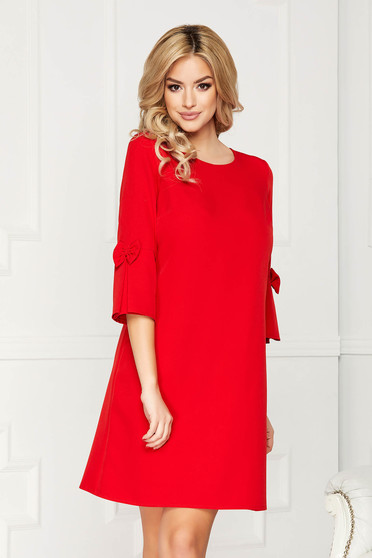 Red dress elegant midi cloth straight with 3/4 sleeves