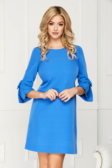 Blue dress elegant midi cloth straight with 3/4 sleeves