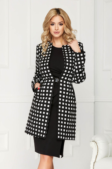 Black trenchcoat elegant cloth straight with pockets with graphic details