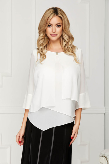 White women`s blouse office short cut from veil fabric flared asymmetrical with metal accessories