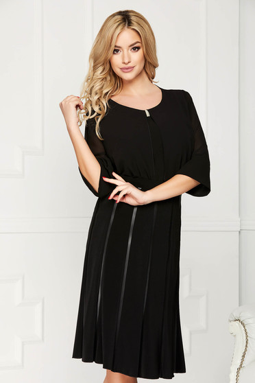 Black women`s blouse office short cut from veil fabric flared asymmetrical with metal accessories