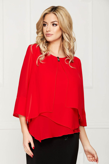 Red women`s blouse office short cut from veil fabric flared asymmetrical with metal accessories