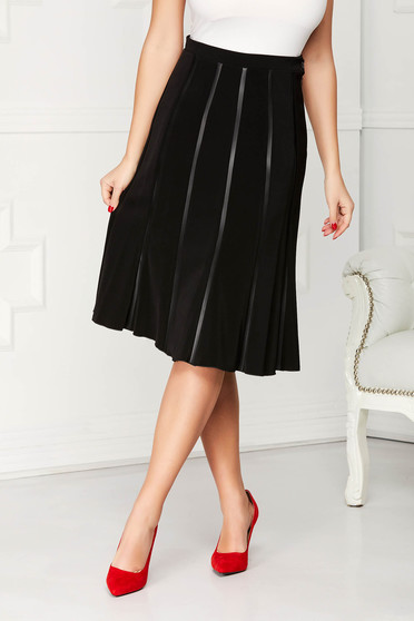 Black skirt elegant midi straight high waisted pleats of material cloth