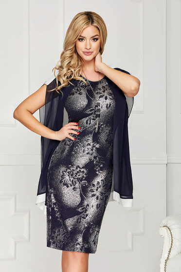 Darkblue dress voile overlay elegant with floral print straight midi accessorized with chain from shiny fabric