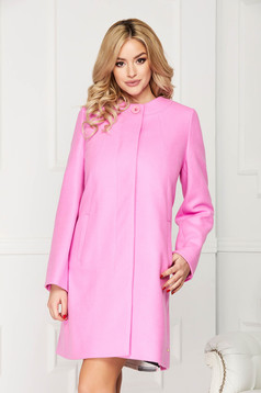 Pink trenchcoat elegant short cut wool straight one button fastening