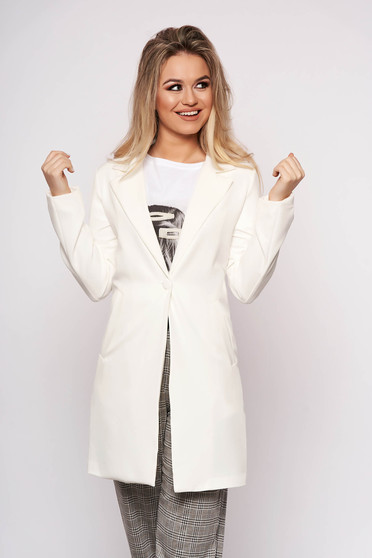 White jacket casual cloth straight one button fastening