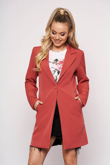 Coral jacket casual cloth straight one button fastening