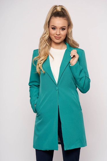 Turquoise jacket casual cloth straight one button fastening