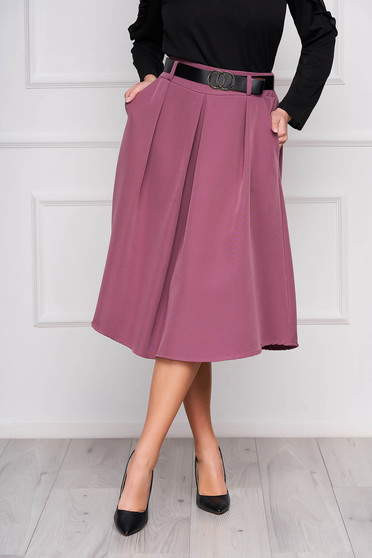 Purple skirt cloche midi office accessorized with belt with pockets pleats of material