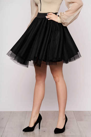 Elegant black skirt from tulle cloche short cut high waisted