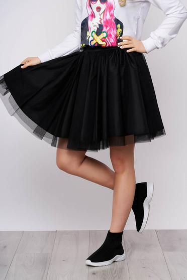 Elegant black skirt from tulle cloche short cut high waisted