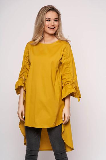 Mustard dress casual asymmetrical a-line cotton 3/4 sleeve