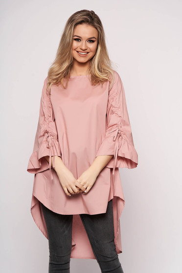 Lightpink dress casual asymmetrical a-line cotton 3/4 sleeve