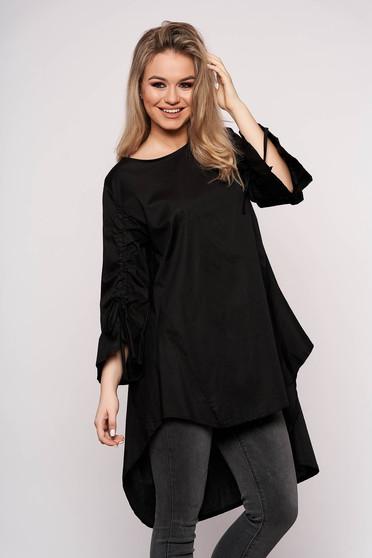 Black dress casual asymmetrical a-line cotton 3/4 sleeve