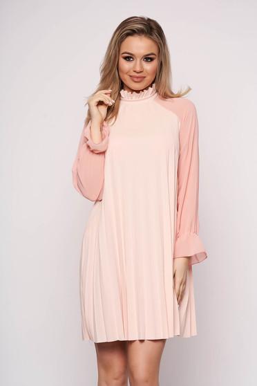 Pink dress elegant short cut from veil fabric a-line long sleeved
