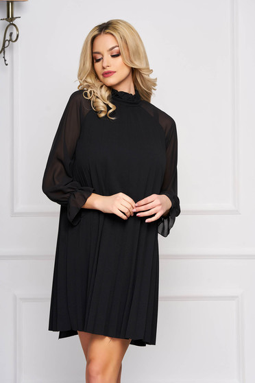 Black dress elegant short cut from veil fabric a-line long sleeved