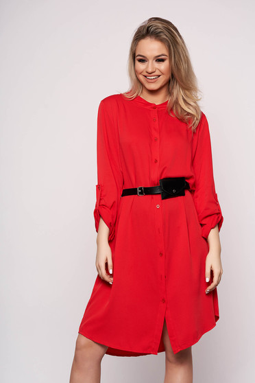 Red dress daily midi straight accessorized with belt faux leather belt
